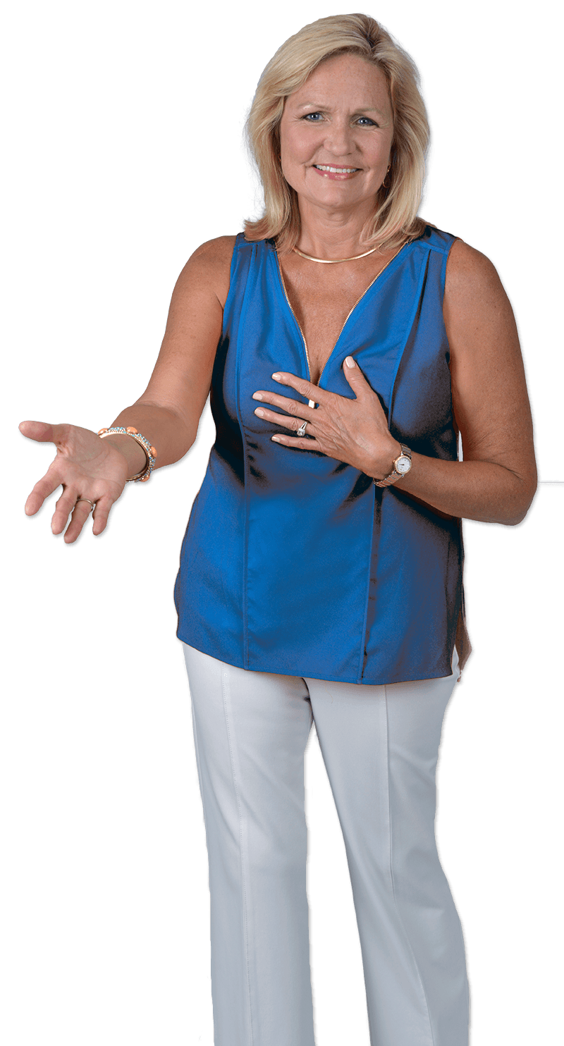 Katana Abbott Cutout With Blue Shirt feeling financial empowerment
